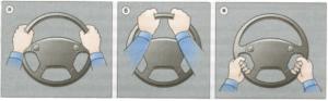 правильный захват рулевого колеса