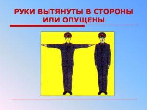 Руки регулировщика опущены вниз или вытянуты в стороны